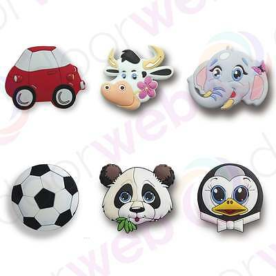 CHILDRENS DOOR KNOBS Kids Rubber Colourful Wardrobe Drawer Knob Animal Football