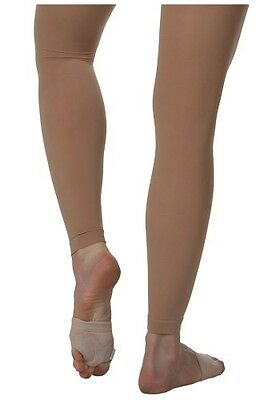 Womens Light Tan Bloch Endura Footless Tights Size XS - Large