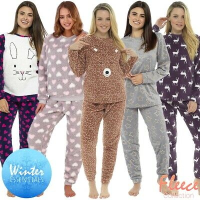 Luxury Fleece Pyjamas Pyjama Set Womens Cute Animal Thermal Long Sleeve PJ'S