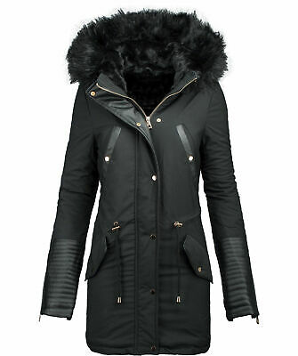 damen winter jacke parka warmer winter mantel winterjacke lang kunstleder b276 eur 79 90. Black Bedroom Furniture Sets. Home Design Ideas