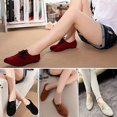 Fashion Womens Nubuck Leather Flats Loafers Lace Up Ballerina Ballet Pumps Shoes