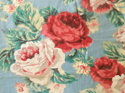 Antique  Shabby Lg. Roses Cotton Barkcloth Fabric ~ Blue Pink Red