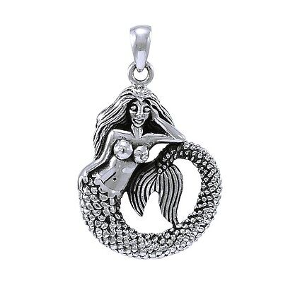 Mermaid Necklace Pendant Curled Tail Sassy Nautical Jewelry with Chain #TPD4344