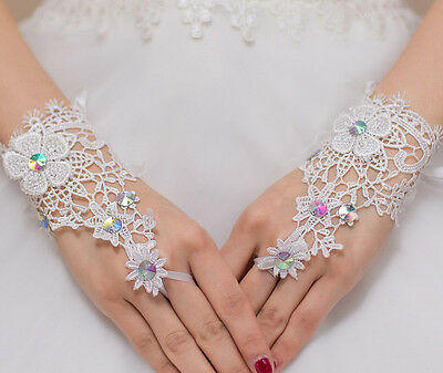 Ivory lace Short Bridal Gloves Wedding Gloves Fingerless