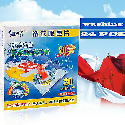 Novelty 24 Sheets Laundry Clothes Washing Super Sucking Color Magic Paper ^
