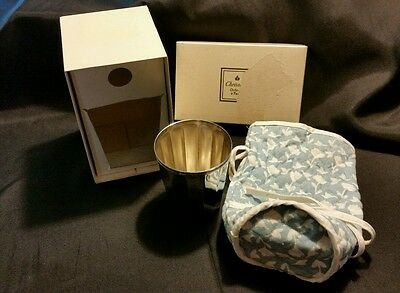 Vintage Christofle France Silver Plate Baptismal Cup with original box