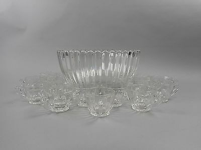Heisey Pressed Crystal Clear CRYSTOLITE Punch Bowl with 18 Punch Cups