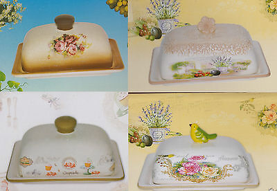Ceramic Butter Dish Tray Holder With Lid Fridge Storage Cream Serving 4 Designs