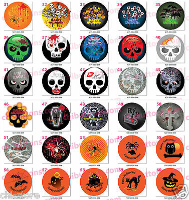 "Halloween holidays buttons - 32mm (1 1/4"")  6 pcs/pack (One Image Only)----31-60"