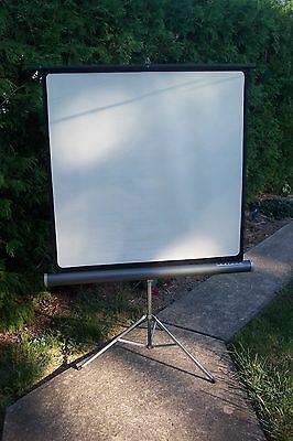 radiant projection screen---  gray body.  around 38 x 38 inches.