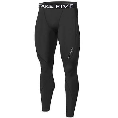 Mens Black Compression Long pants Tight Fitness Gym Rugby Running Skins Take 5