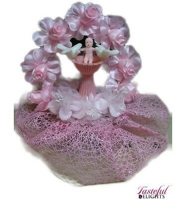 Christening Cake Topper Baby Font Top Pink