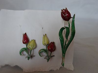 Vintage 925 SILVER Pin / & Earring Set ENAMELED Tulips Flowers CLIP-ON Jewelry