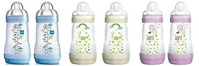 MAM Self Sterilising Anti-Colic Bottle 260ml 2 pack Choice of 3 Colours BPA Free