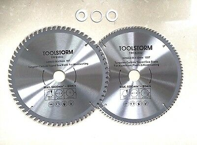2PC Circular Saw Blade 255mm 100T/60TEETH 30MM BORE With 3 Reduction rings TCT