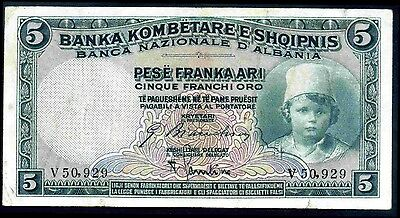 Albania . Five Franka, V50,929, (1926), Very Fine.