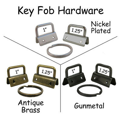 25 Key Fob Hardware w/ Key Rings - Pick Size and Finish - for Making Key Chains