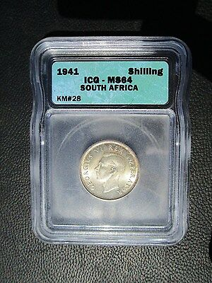 1941 South Africa Shilling, ICG MS 64