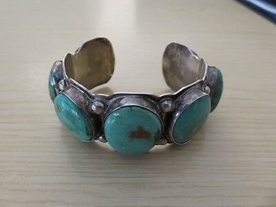 Vintage Silver & Turquoise Bracelet By Navajo Silversmith Dave Pino - Stunning !