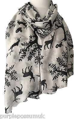 Stag Scarf Cream Ivory Deer Dark Grey Black Trees Wrap Stags Deers Squirrels New