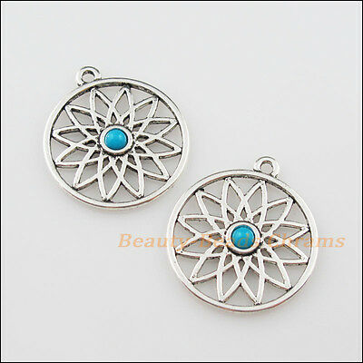3Pcs Tibetan Silver Tone Round Flower Charms Pendants 26x30mm