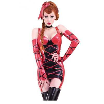 R0613 STUNNING RUBBER LATEX CRISS CROSS GIRDLE Red/Black MADE/DESIGNED IN UK