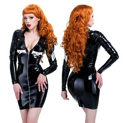 R0458 LATEX Military DRESS Black or Red ZIP FRONT SECONDS RRP £187.95- £216.14