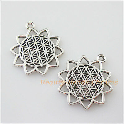 4Pcs Tibetan Silver Tone Sun Flower Charms Pendants Connectors 25x29mm