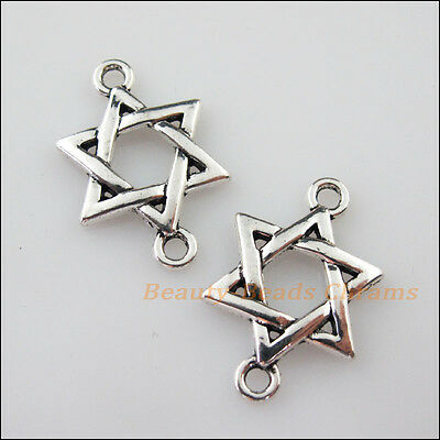 10Pcs Tibetan Silver Tone Star China Knot Charms Pendants Connectors 17x26mm