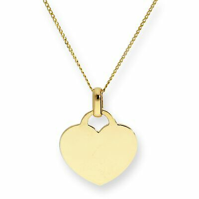Real 375 9ct Gold Engravable Heart Pendant on Chain 16 - 18 Inches Necklace
