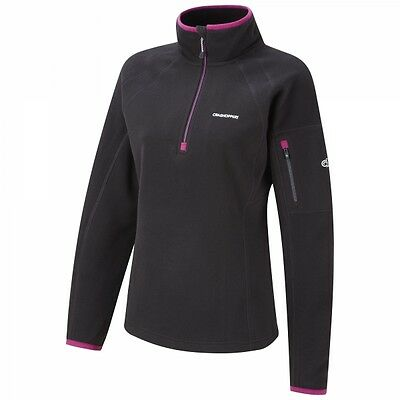 Craghoppers Inessa Half Zip Warm Walking Hiking Fleece Top Black/Bright Magenta