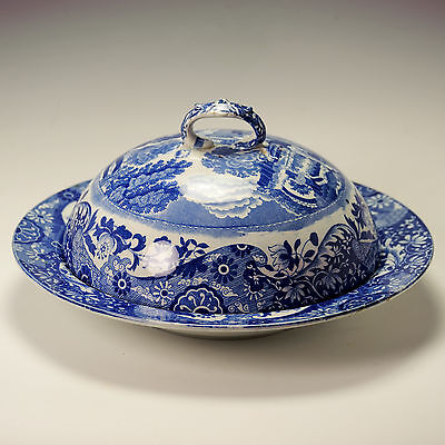 Copeland Late Spode Blue Italian Muffin Dish & Cover Blue oval & Impressed marks