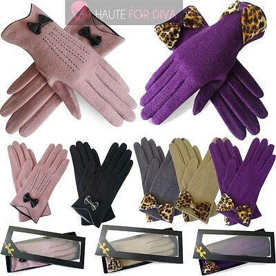 New Womens Leopard Leather Classic Bow Design Winter Evening Wool Gloves Gift