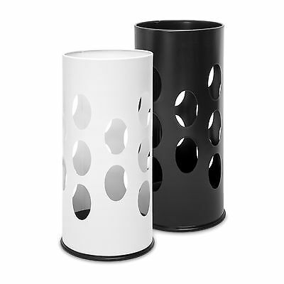 Umbrella Stand Round Umbrella Rack Umbrella Holder White and Black, Metal