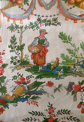 Vintage Mid Century French Pastoral Toile Fabric ~ Country Life ~ #1