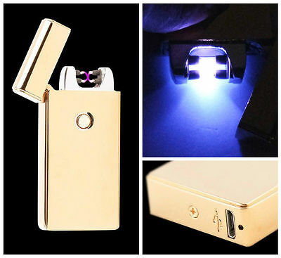 Gold Dual Arc Electric USB Lighter Rechargeable Flameless Windproof Plasma