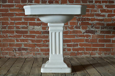 Pedestal Sink Vintage Antique Architectural Earthenware Bathroom Pedestal Sink