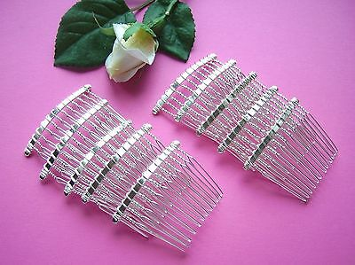 10 x Small Beadable Metal Hair Combs / Bright Silver Col. / Bridal / Accessories