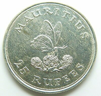 Mauritius 25 Rupees 1975 Silver Coin Km#40 Butterfly