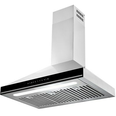 """30"""" Touch Screen Display LED Light Kitchen Stainless Steel Wall Mount Range Hood"""