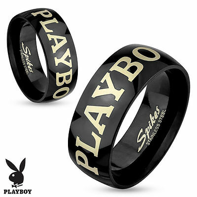 Playboy Laser Etched Black IP Stainless Steel Couple Ring Band Finger (FL309)