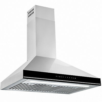 "30"" Stainless Steel Lamp Baffle Filter Touch Screen Wall Mount Range Hood"