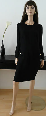 Robe vintage chic DÉ ROYAL noire taille 40/42 /Vtg uk 12/14 /boutons strass