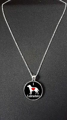 """I Love Labradors Pendant On 18"""" Silver Plated Fine Metal Chain Necklace N467"""