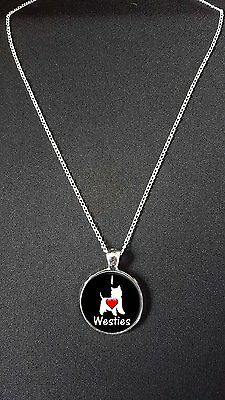 """I Love Westies Pendant On 18"""" Silver Plated Fine Metal Chain Necklace N465"""