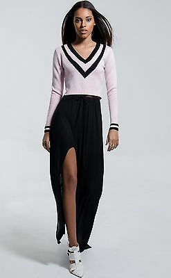 Pink Cropped Tennis Sweater