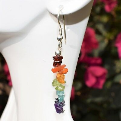CHARGED 7 Chakra Crystal Chip Earrings  REIKI Energy! ZENERGY GEMS™