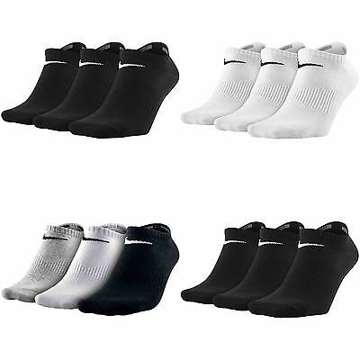 Nike No Show invisible 3pair trainer socks Men Women Black white gym sports size