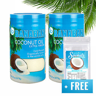 BANABAN Organic grown Extra Virgin Coconut Oil Fiji 2x 1Litre +FREE TRAVEL PACK!