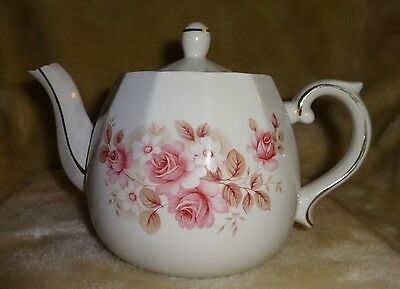 Vintage Teapot ELLGREAVE England Pink Roses with Gold Accents & Lid